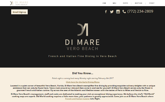 Di Mare Restaurant. This link opens new window.